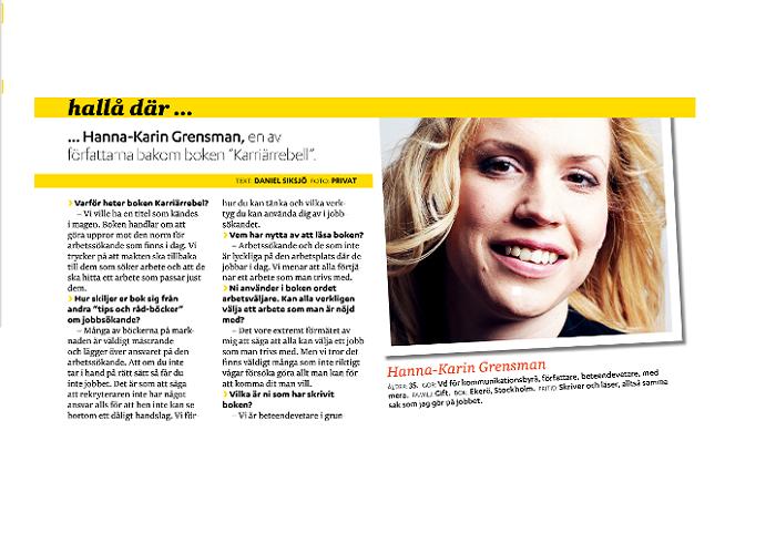 Bild på artikeln. Bild på en fånigt leende Hanna-Karin med flygande hår.