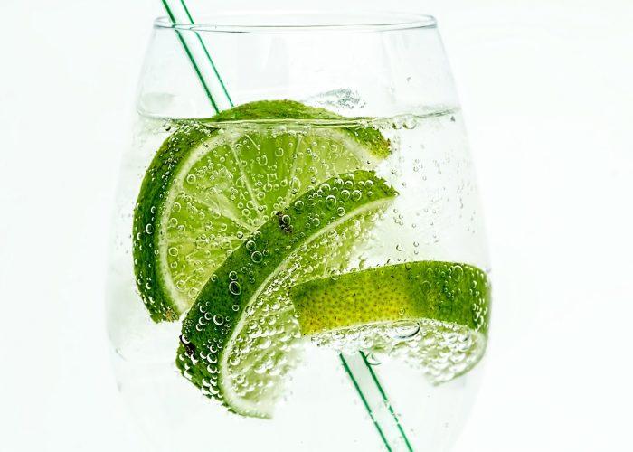 Ett glas med bubblig dryck, tre gröna limeskivor och en drinkpinne.