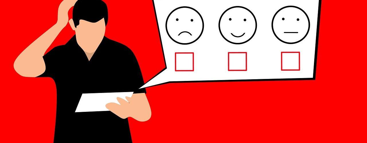 Tecknad bild där man i svart står mot en röd bakgrund. Han funderar över hur nöjd han är.