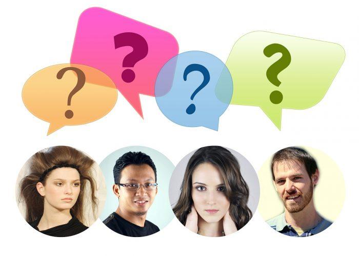 Fyra personer med av olika kön, hudfärg och utseende. Alla med varsitt frågetecken över huvudet.