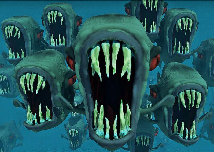 Tecknad bild i dovt blågrönt med flera pirayor med öppna käkar och vassa tänder.