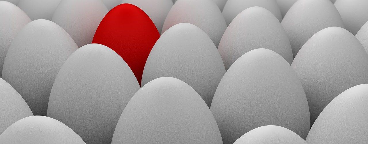 Många vita ägg. Och ett rött.